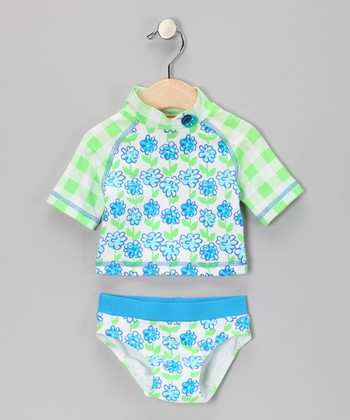 Turquoise Plaid Flower Rashguard Set - Infant, Toddler & Girls