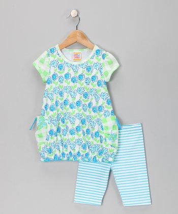 Turquoise Flower Tunic & Leggings - Infant, Toddler & Girls