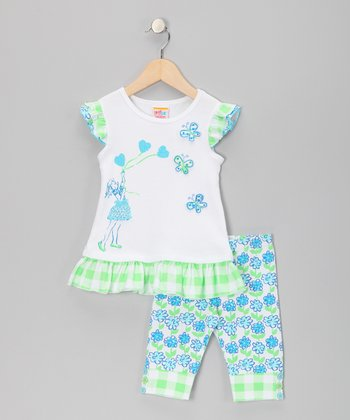 Turquoise Butterfly Heart Tunic & Leggings - Girls