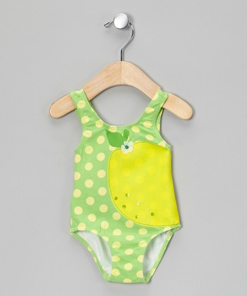 Lemon Polka Dot One-Piece - Infant, Toddler & Girls