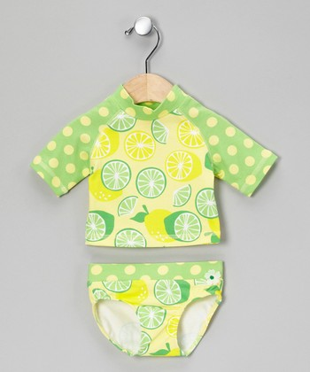 Lemon & Lime Rashguard Set - Infant, Toddler & Girls