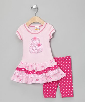 Pink Floral Sweets Dress & Leggings - Infant, Toddler & Girls