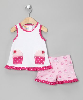 Pink Cupcake Ruffle Tank & Shorts - Infant, Toddler & Girls