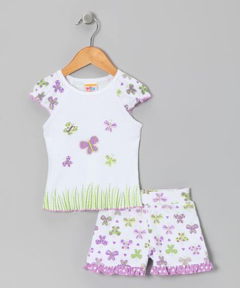 Lavender Papillon Tee & Ruffle Shorts - Girls