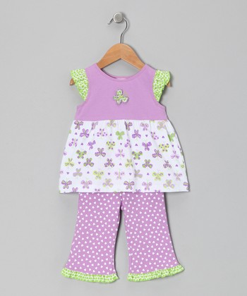 Lavender Papillon Tunic & Ruffle Pants - Infant, Toddler & Girls