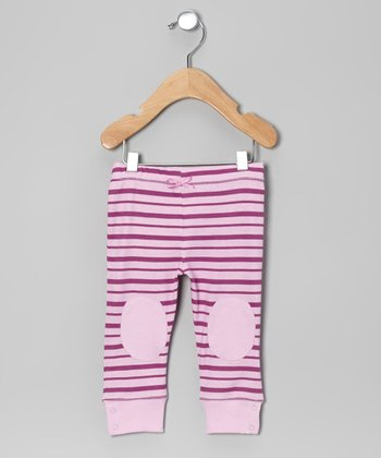 Pink Lavender Stripe Knee-Patch Leggings