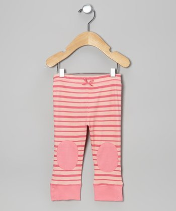 Pink Lemonade Stripe Knee-Patch Leggings