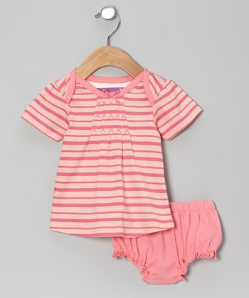 Pink Lemonade Stripe Dress & Diaper Cover