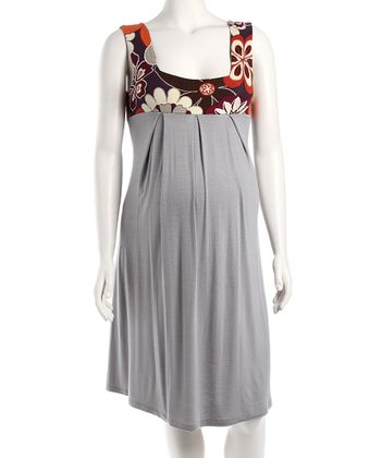 Gray Floral Maternity Summer Dress