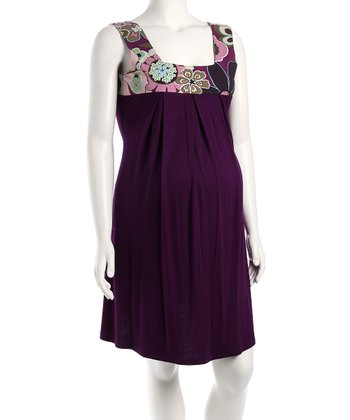 Purple Floral Maternity Summer Dress