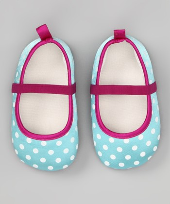 Aqua & Purple Polka Dot Flat