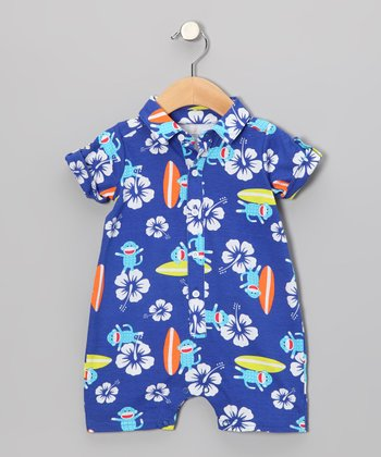 Blue Surfing Sock Monkey Knit Romper