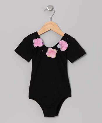 Black Flower Glitz Short-Sleeve Leotard - Toddler & Girls