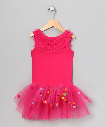 Hot Pink Pom Pom Skirted Leotard - Infant, Toddler & Girls