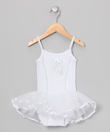 White Rhinestone Skirted Leotard - Infant, Toddler & Girls