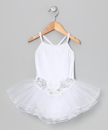 White Butterfly Sequin Skirted Leotard - Infant, Toddler & Girls