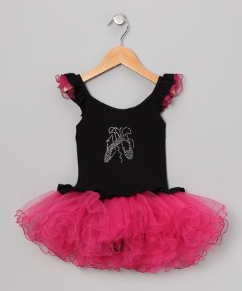 Black Rhinestone Skirted Leotard - Infant, Toddler & Girls