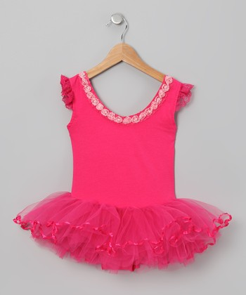 Hot Pink Rosette Skirted Leotard - Infant, Toddler & Girls