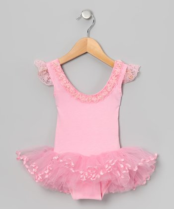 Pink Rosette Angel-SleeveSkirted Leotard - Infant