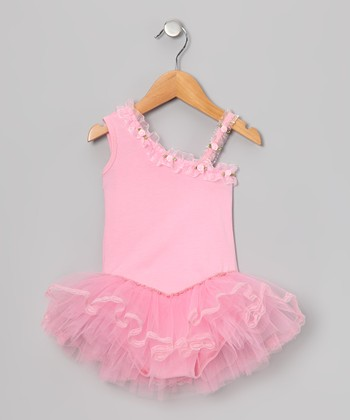 Pink Rose Asymmetrical Skirted Leotard - Infant, Toddler & Girls