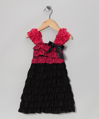 Fuchsia & Black Lace Tiered Dress - Infant