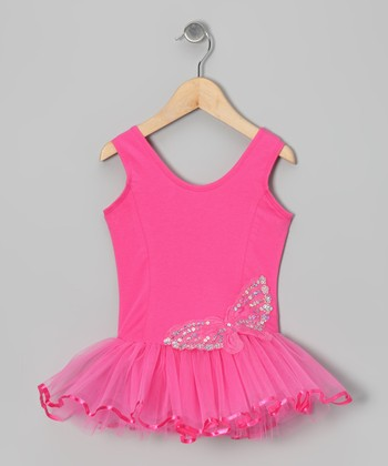 Hot Pink Sequin Butterfly Skirted Leotard - Infant