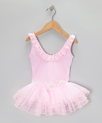 Pink Flower Skirted Leotard - Girls
