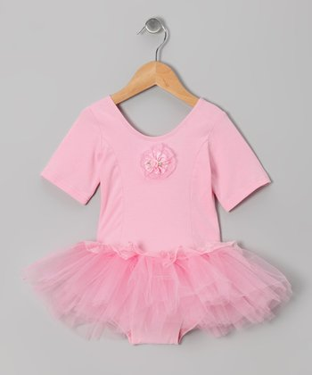 Pink Rose Short-Sleeve Skirted Leotard - Infant, Toddler & Girls