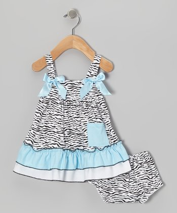 Blue Zebra Swing Top & Diaper Cover - Infant, Toddler & Girls
