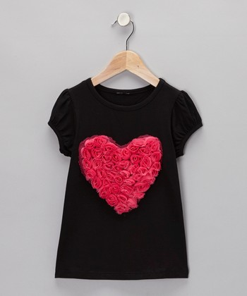 Black & Hot Pink Rosette Heart Tee - Infant, Toddler & Girls