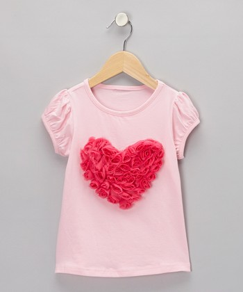 Pink & Hot Pink Rosette Heart Tee - Infant, Toddler & Girls