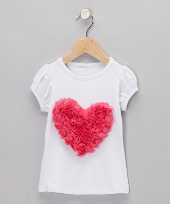 White & Hot Pink Rosette Heart Tee - Infant, Toddler & Girls