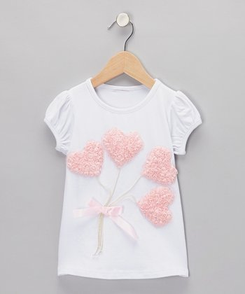 White & Pink Rosette Heart Balloon Tee - Infant, Toddler & Girls