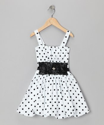 White & Black Polka Dot Bubble Dress