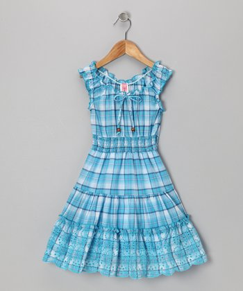 Blue Plaid Eyelet Dress