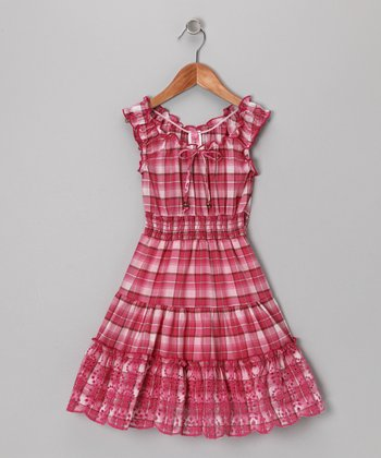 Pink Plaid Eyelet Dress