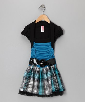 Black & Blue Shrug Dress