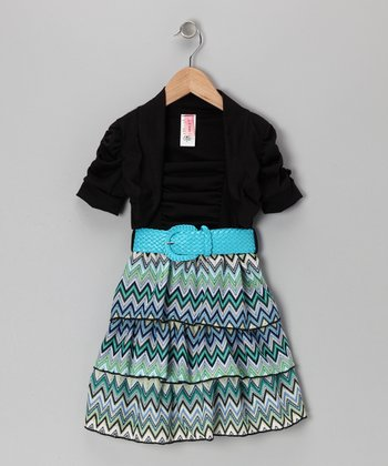 Aqua & Black Zigzag Dress Set