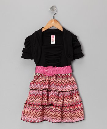 Peach & Black Zigzag Dress Set