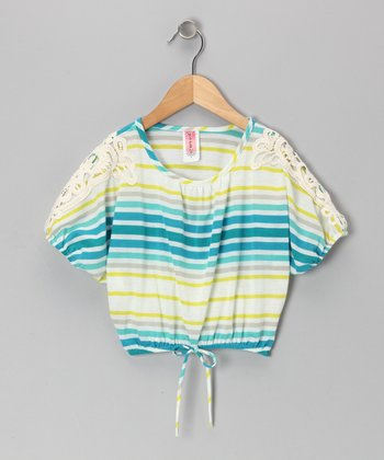 Aqua Stripe Cape-Sleeve Top