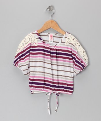 Purple Stripe Cape-Sleeve Top