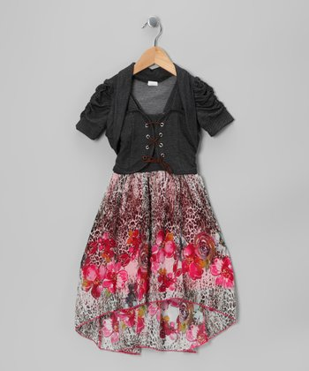 Pink Dress & Dark Denim Bolero