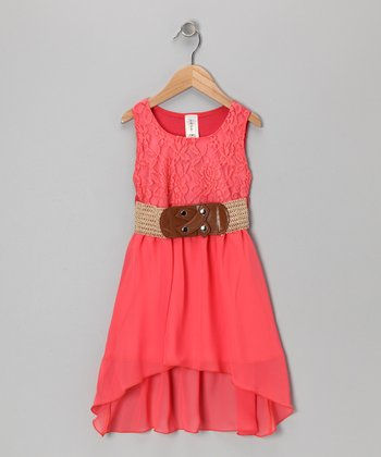 Coral Chiffon Lace Dress