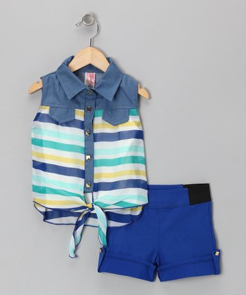 Blue Sleeveless Button-Up & Shorts