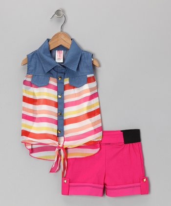 Pink Sleeveless Button-Up & Shorts