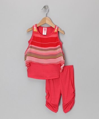 Coral Stripe Tunic & Leggings