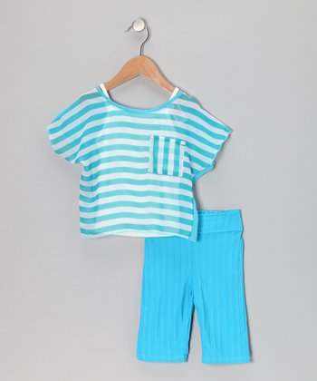 Blue Stripe Tissue Top Set