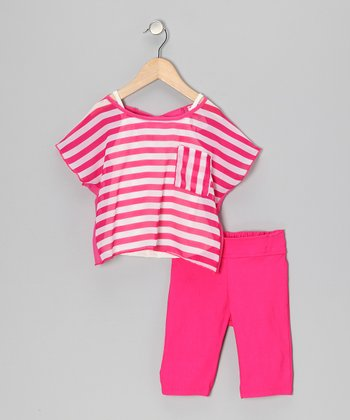 Pink Stripe Tissue Top Set