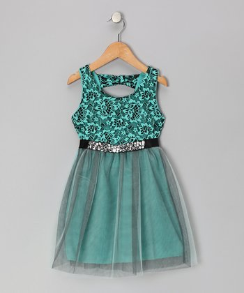 Mint Lace Dress - Girls