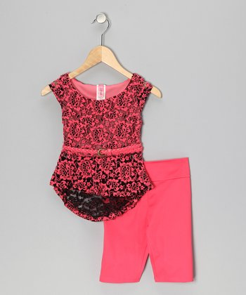 Coral Lace Tissue Top & Leggings